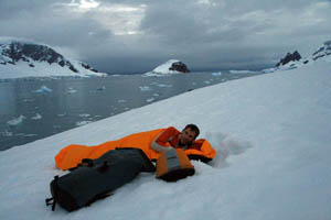 Trying to get some sleep under the midnight sun in Antarctica