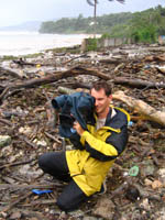 Videotaping a shifting mass of debris in the storm surge of Hurricane Dean in Jamaica