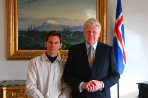 With the President of Iceland Ólafur Ragnar Grímsson at the presidential residence