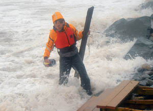 In the storm surge of Hurricane Bill as it makes landfall in Nova Scotia